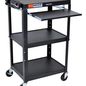 Luxor AVJ42KB - Adj Height Steel Cart With Pullout Keyboard Tray