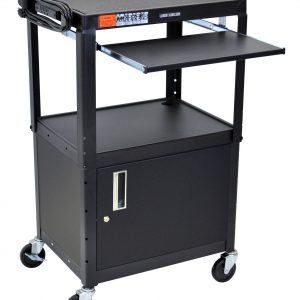 Luxor AVJ42KBC - Adj Height Steel Cart W/Cabinet & Pullout Tray