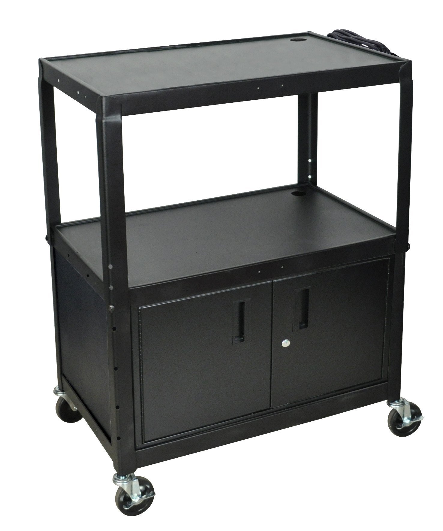 Luxor AVJ42XLC - Steel Adj Height Extra Large AV Cart w/ Cabinet