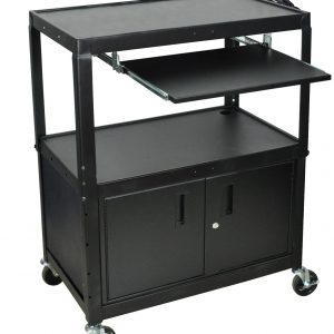 Luxor AVJ42XLKBC - Extra Large Steel Adj. Cart W/ Keyboard Shelf