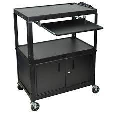 Luxor AVJ42XLKBC - Steel Adj Height Extra Large AV Cart with Keyboard Shelf and Locking Cabinet