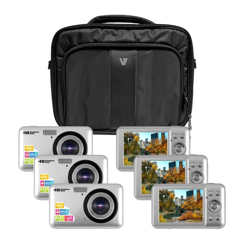 """HamiltonBuhl Camera Explorer Kit, Six 12MP Digital Cameras with Flash and 2.7"""" LCDs, Nylon Carry Case"""