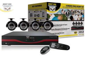 Night Owl's LTE-44500 4 Channel LTE Full D1 DVR with 500GB Hard Drive, 4 x Indoor/Outdoor Night Vision Cameras