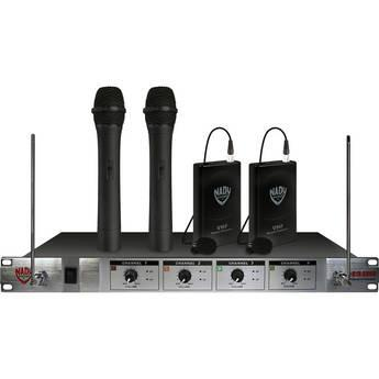 Nady 401x Quad 4 Channel 2  Lapel 2 Handheld Microphone