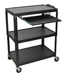 Luxor AVJ42XLKB - Steel Adj Height Extra Large AV Cart with Keyboard Shelf
