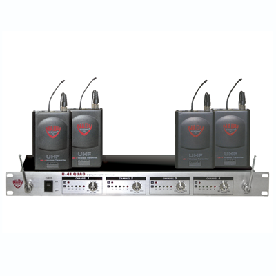 Nady U-41 Lavalier Professional 4-Channel UHF Wireless Mic System