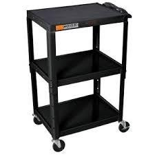 "H. Wilson W42AE Metal Open Shelf Utility Cart (24 x 24-42 x 18"") (Black)"